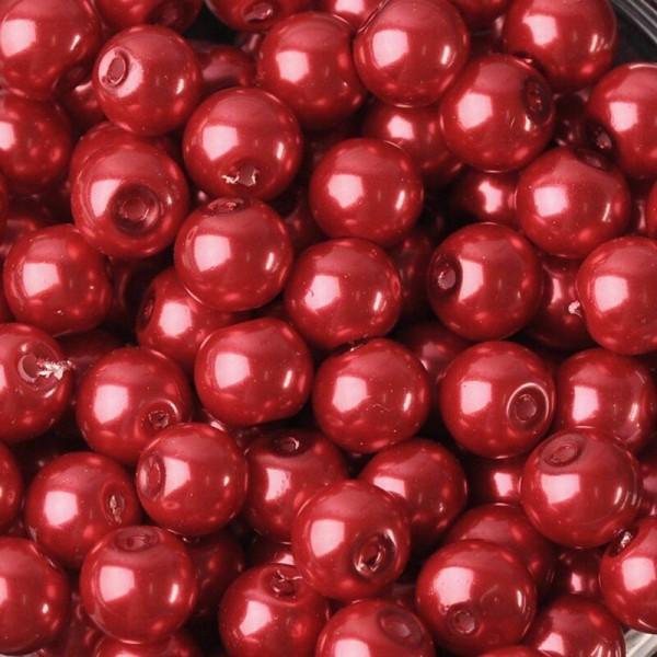 20 Perles imitation en Verre 8mm Couleur Rouge creation Bijoux, Bracelet - Photo n°1