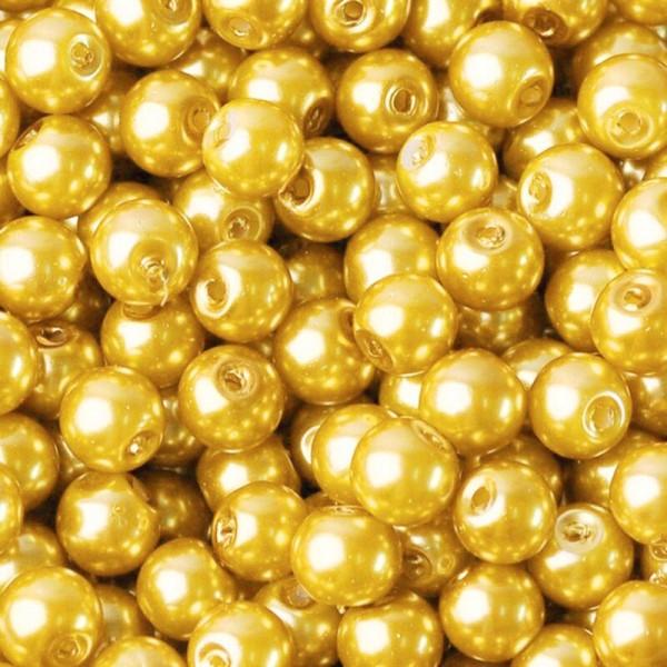 20 Perles imitation en Verre 8mm Couleur Doré creation Bijoux, Bracelet - Photo n°1