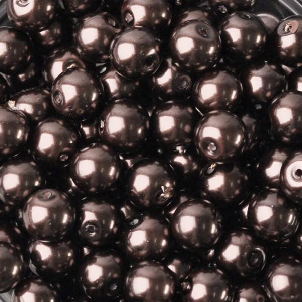 20 Perles imitation en Verre 8mm Couleur Marron creation Bijoux, Bracelet - Photo n°1