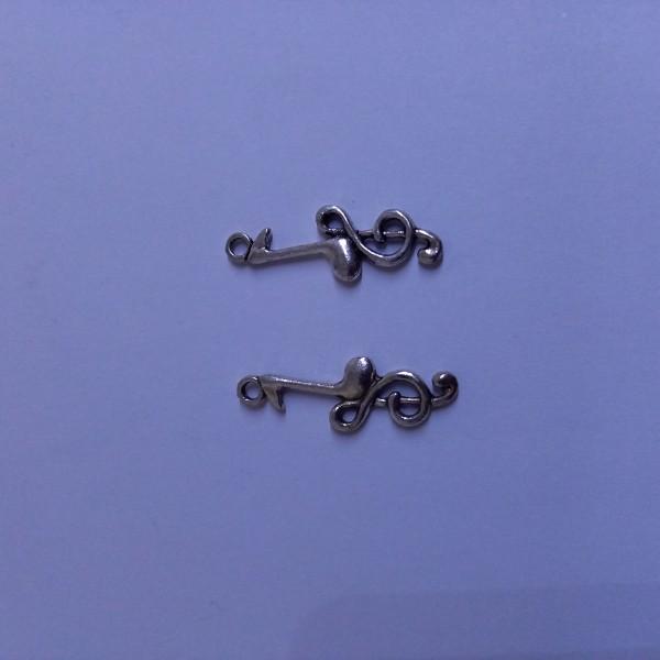 Breloque, 2 clefs de sol métal blanc - Photo n°1