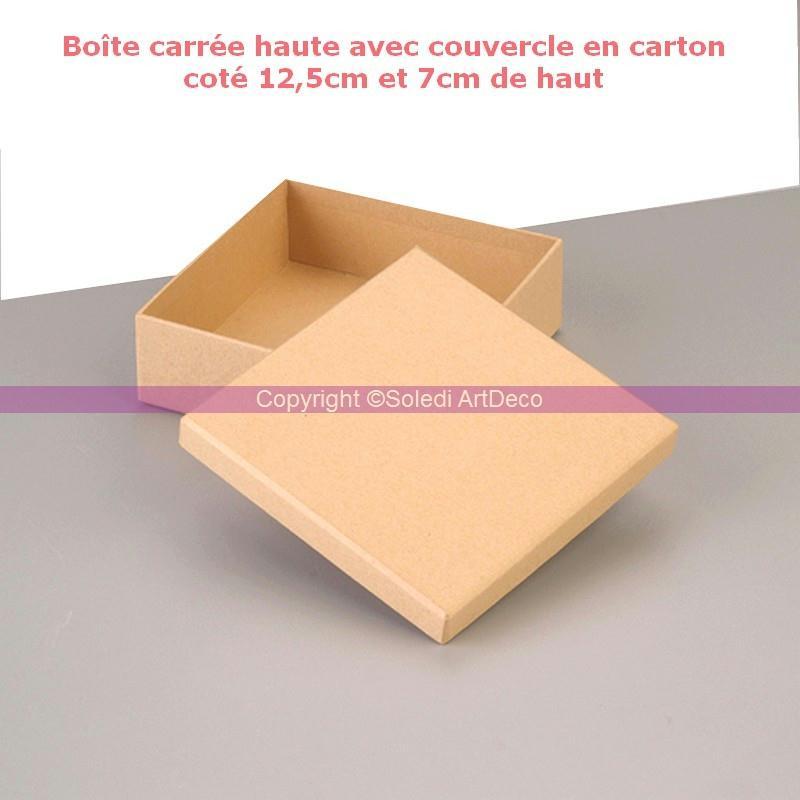 bo te carr e haute avec couvercle en carton cot 12 5cm et 7cm de haut boite en carton. Black Bedroom Furniture Sets. Home Design Ideas