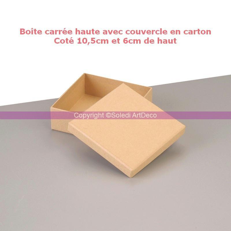 bo te carr e haute avec couvercle en carton cot 10 5cm et 6cm de haut boite en carton. Black Bedroom Furniture Sets. Home Design Ideas