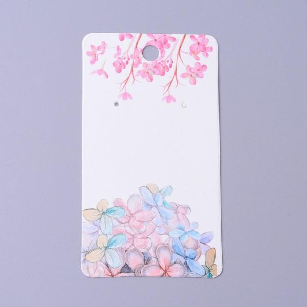 Support carton présentoirs boucles d'oreilles fleurs roses x 5 - Photo n°1