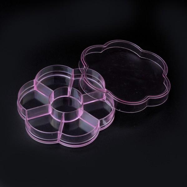 Boite rangement perles 7 compartiments 10.3 cm rose x 1 - Photo n°2