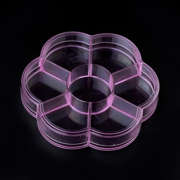 Boite rangement perles 7 compartiments 10.3 cm rose x 1 - Photo n°1