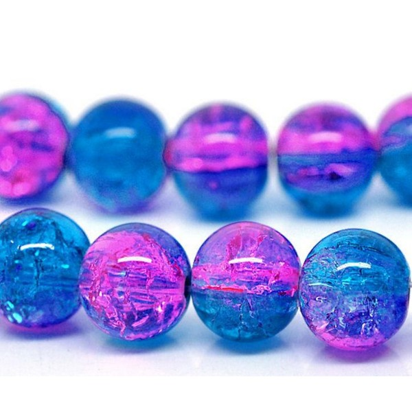 20 Perles en Verre Craquelé Fissuré Violet et Bleu 8mm - Photo n°2