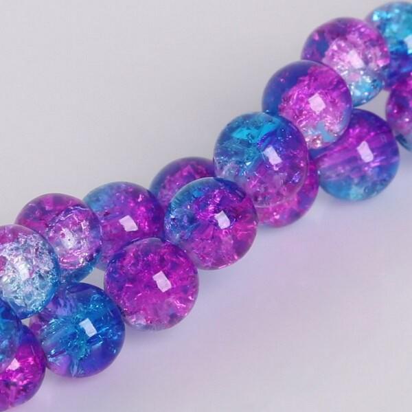 20 Perles en Verre Craquelé Fissuré Violet et Bleu 8mm - Photo n°3