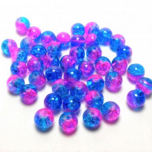 20 Perles en Verre Craquelé Fissuré Violet et Bleu 8mm - Photo n°1