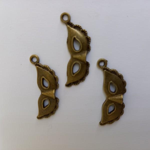 Breloque 3 masques vénitiens métal bronze - Photo n°1