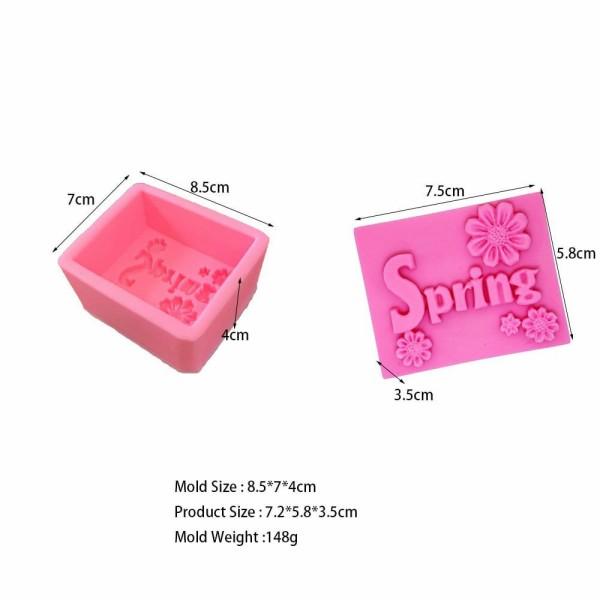 1pc printemps 3D Silicone Savon Moule, argile gypse moule, cire Bougie, Uv Résine chocolat Gâteau Fo - Photo n°1