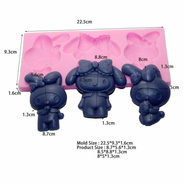 1 pc Grand 3 lapin de Pâques 3D Silicone Savon Moule argile gypse moule Uv Résine cire Bougie chocol - Photo n°1