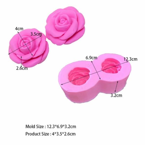 1 pc 2 Rose Fleurs 3D Silicone Savon Moule argile gypse moule Uv Résine cire Bougie chocolat Gâteau - Photo n°1
