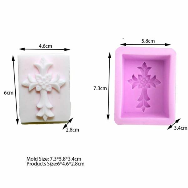 1 pc fleur croix 3D Silicone Savon Moule argile gypse moule Uv Résine cire Bougie chocolat Gâteau Fo - Photo n°2
