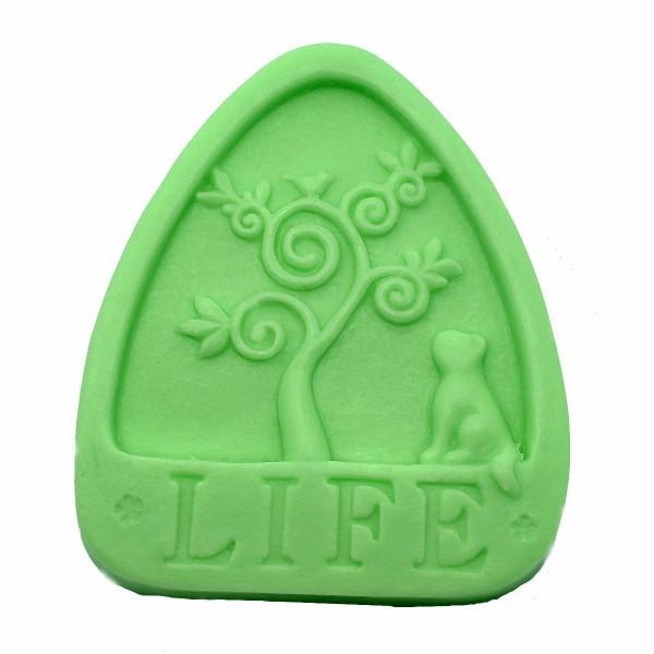1pc Arbre de vie chat 3D Silicone Savon Moule argile gypse moule Uv Résine cire Bougie chocolat Gâte - Photo n°1