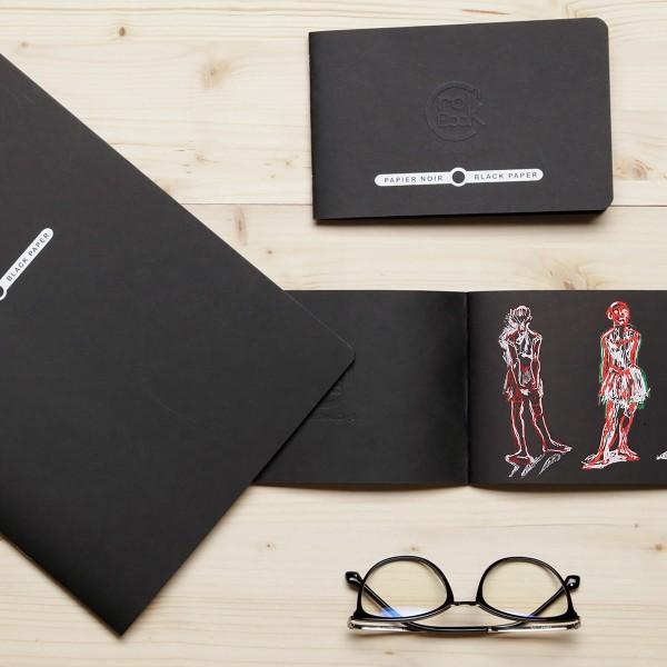 Carnet de croquis Crok'Book Papier noir - 120 g/m² - A4 - 20 pages - Photo n°2