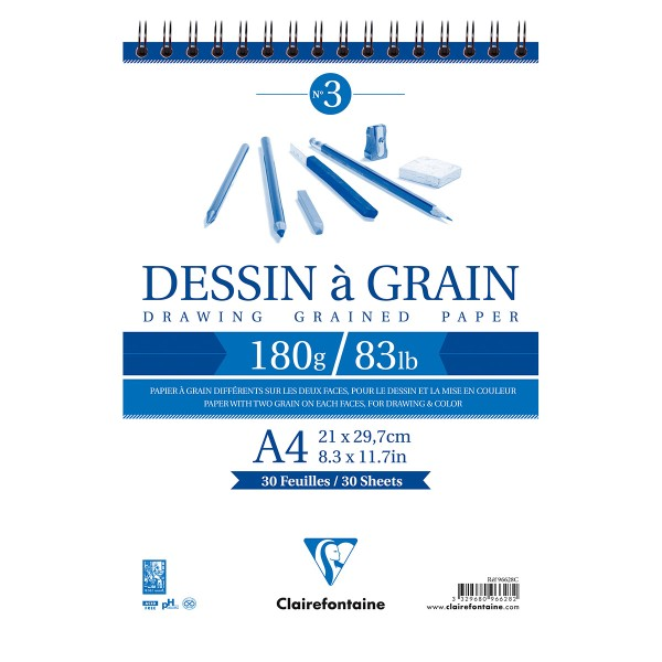 Bloc à dessin à grain 180g - A4 - 30 pages - Photo n°1