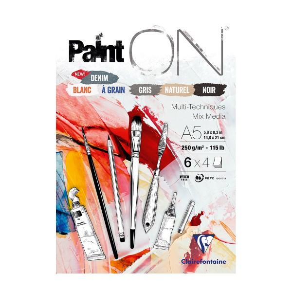 Bloc Papier multi-techniques Paint'On Denim A5 - 250 g - 24 feuilles - Photo n°1