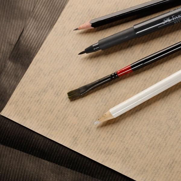 Bloc de Papier Kraft Vergé double-face A5 - Brun et noir - 60 feuilles - Photo n°2