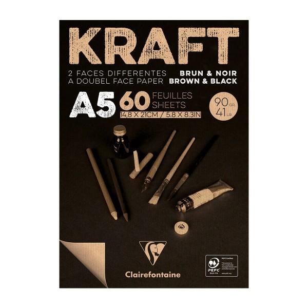 Bloc de Papier Kraft Vergé double-face A5 - Brun et noir - 60 feuilles - Photo n°1