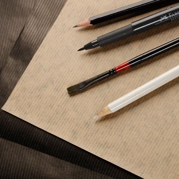 Bloc de Papier Kraft Vergé double-face A4 - Brun et noir - 60 feuilles - Photo n°2