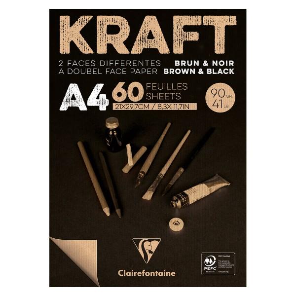 Bloc de Papier Kraft Vergé double-face A4 - Brun et noir - 60 feuilles - Photo n°1