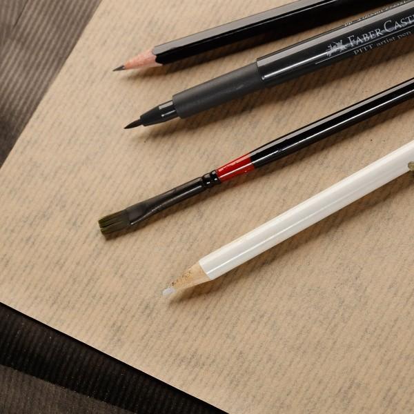 Bloc de Papier Kraft Vergé double-face A3 - Brun et noir - 60 feuilles - Photo n°2