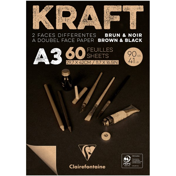Bloc de Papier Kraft Vergé double-face A3 - Brun et noir - 60 feuilles - Photo n°1