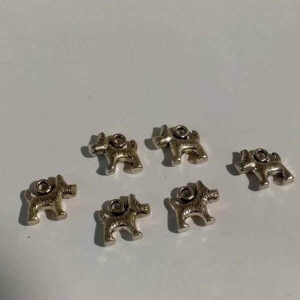 Breloques, 6 chiens caniche en métal argenté, 1 cm - Photo n°1