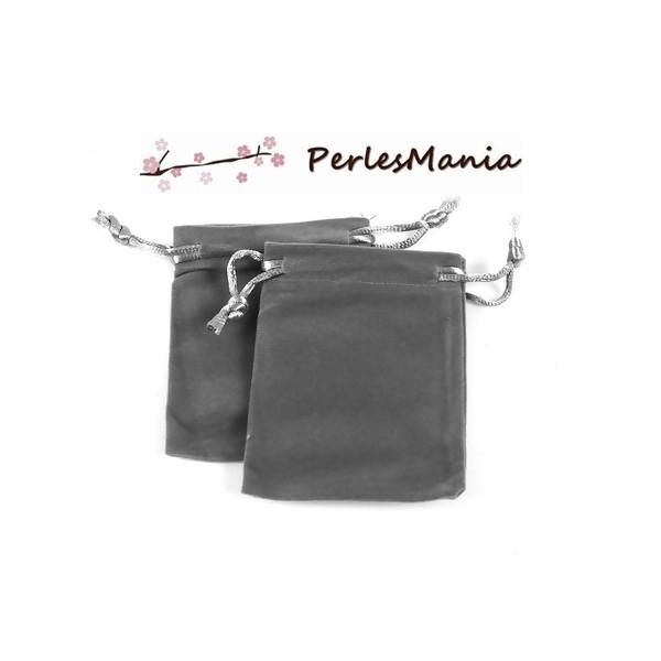 PS1196931 PAX 5 pochettes cadeaux velours RECTANGLE GRIS - Photo n°2