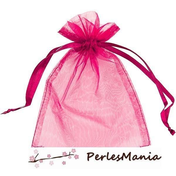 PS110109396 PAX 20 pochettes organza Fuschia 5 par 7 cm pour bijoux, dragés - Photo n°3