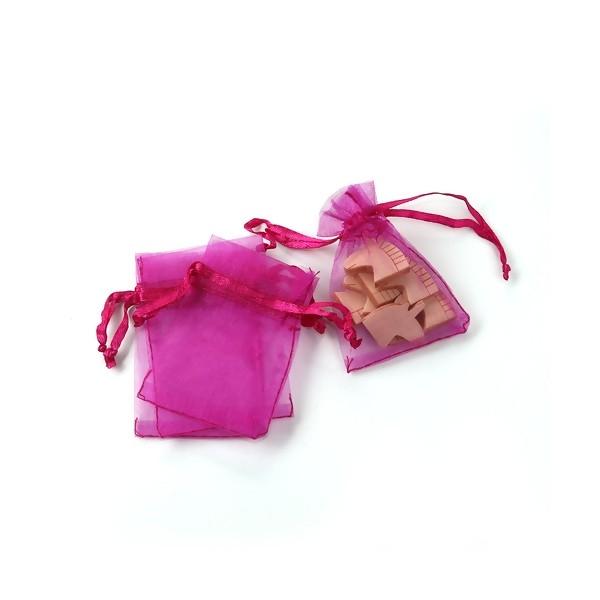 PS110109396 PAX 20 pochettes organza Fuschia 5 par 7 cm pour bijoux, dragés - Photo n°1