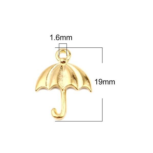 PS11653777 PAX 10 pendentifs breloque Parapluie 19mm metal couleur Doré - Photo n°3