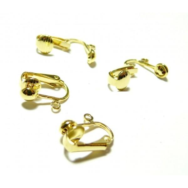 P141 PAX 10 supports de Boucles d'oreille clips DORE avec attache pour création de bijoux - Photo n°1