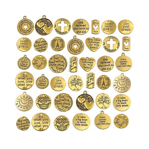S11664317 PAX 20 pendentifs MESSAGE sur Medaille 20mm métal coloris Doré Antique - Photo n°1