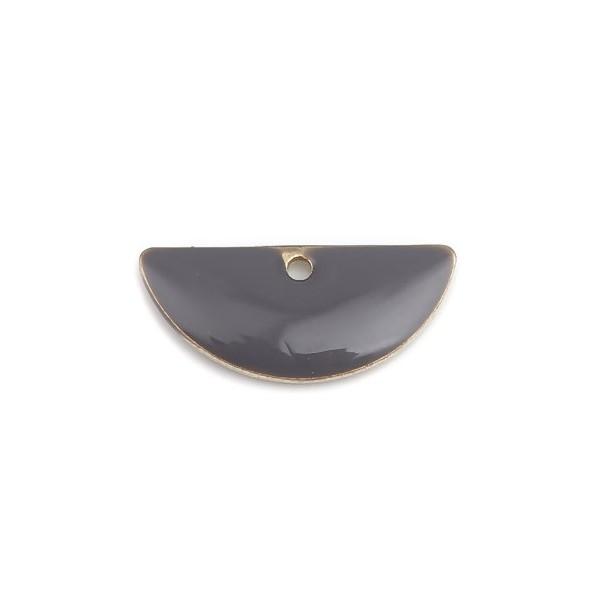 PS110238220 PAX 5 sequins médaillons résine style émaillés Biface Demi Cercle Gris 18 par 8mm - Photo n°1
