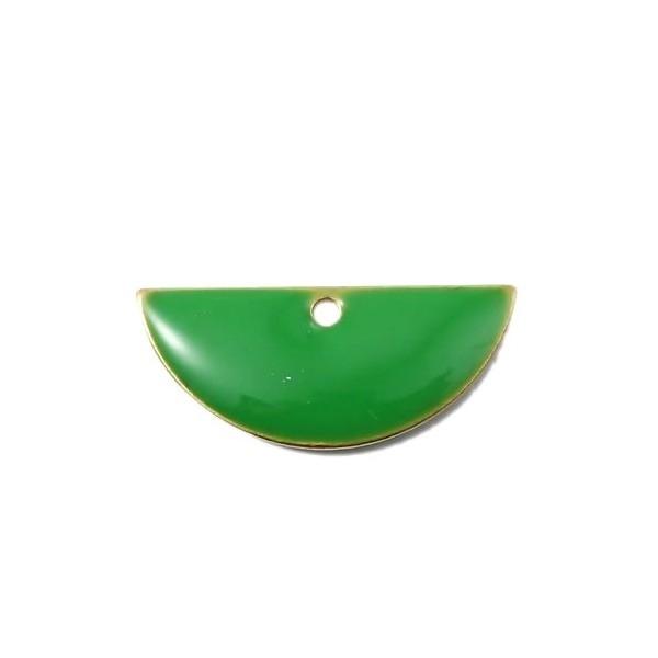 PS110140793 PAX 5 sequins médaillons résine style émaillés Biface Demi Cercle Vert 18 par 8mm - Photo n°1
