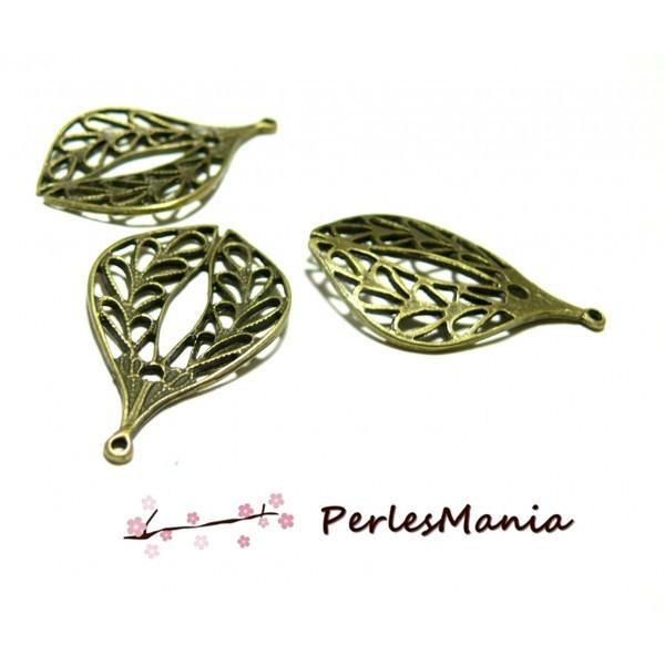 Lot de 10 pendentifs multi connecteur FEUILLE Ajourée métal coloris Bronze 2A5509 - Photo n°1