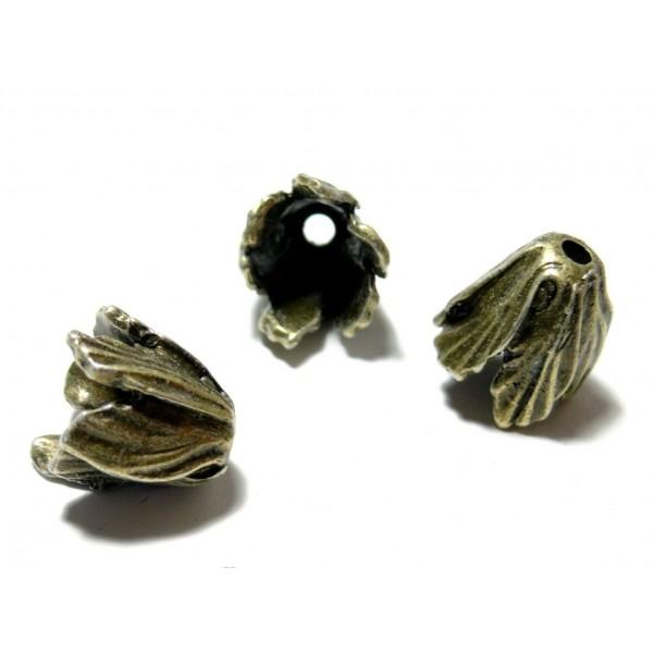 H11232482 PAX 4 Coupelles coquille calottes style Tulipe Feuille 16mm métal coloris BRONZE - Photo n°1
