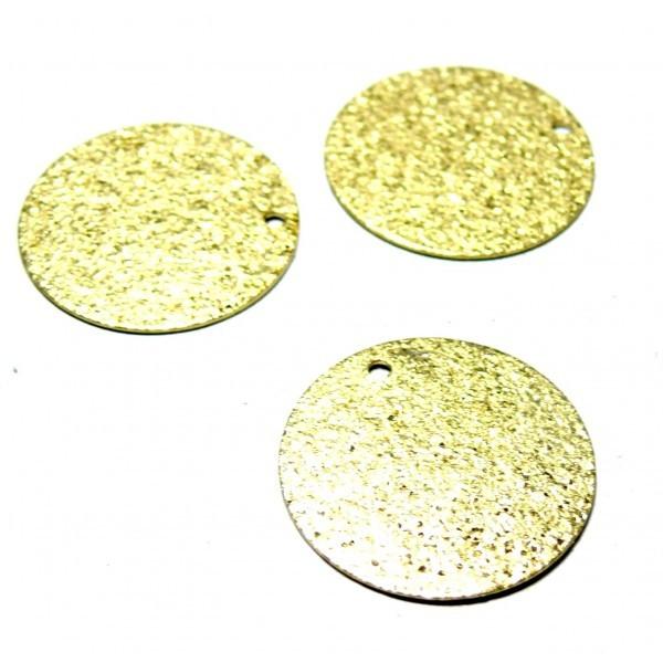 PS1172901 PAX 25 Pendentifs Medaille Stardust Effet Pailllettes Rondes 8mm cuivre coloris Doré - Photo n°1