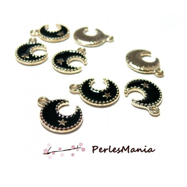 PS110096912 PAX 10 pendentifs émaillés Lune et Etoile Noires - Photo n°1