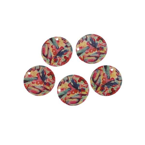 S110095612 PAX 5 pendentifs breloques stardust Ronde 20mm Géométrique Cuivre Coloris Doré - Photo n°2