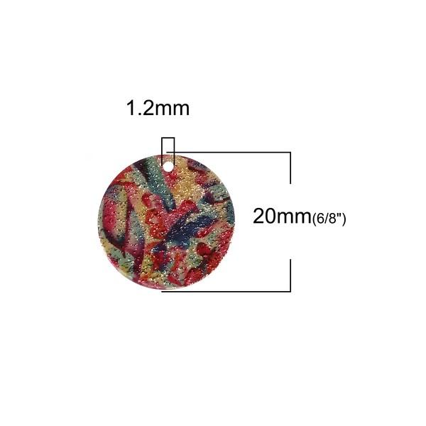 S110095612 PAX 5 pendentifs breloques stardust Ronde 20mm Géométrique Cuivre Coloris Doré - Photo n°3