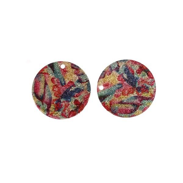 S110095612 PAX 5 pendentifs breloques stardust Ronde 20mm Géométrique Cuivre Coloris Doré - Photo n°1