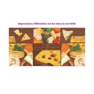 Lot de 20 Serviettes en papier Plateau de fromages, 33x33 cm