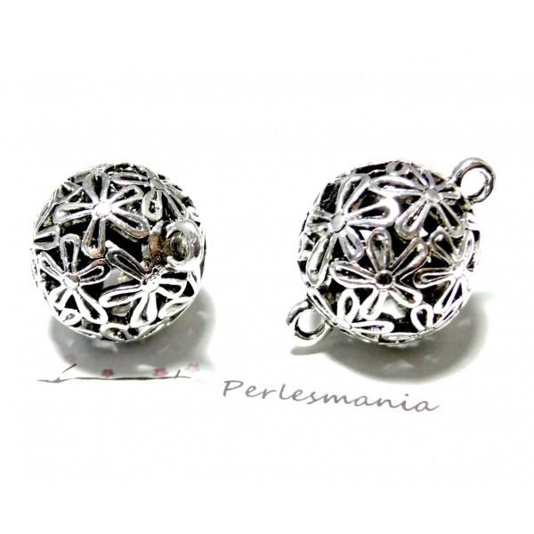 Lot de 2 connecteurs perle style Cage Fleuri 24 mm métal couleur Argent Platine P18412 - Photo n°1