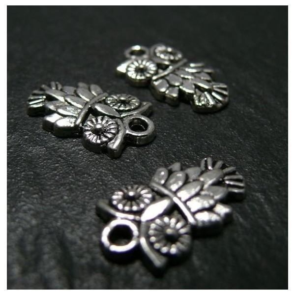 Lot de 20 pendentifs Hibou métal coloris Argent Antique 2A1322 - Photo n°1