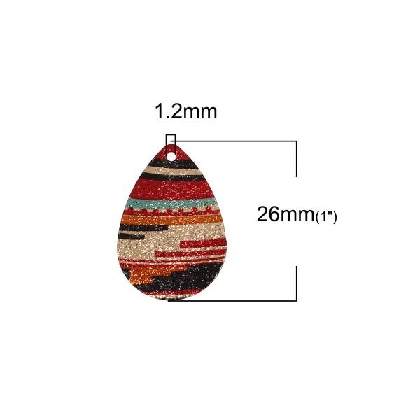 PS110095619 PAX 5 pendentifs breloques stardust Goutte 28mm Graphique Cuivre coloris Doré - Photo n°2
