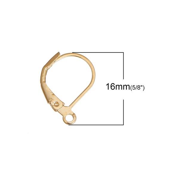 PS110083824 PAX 6 Boucles d'oreille dormeuses simple metal Doré 14KT - Photo n°2