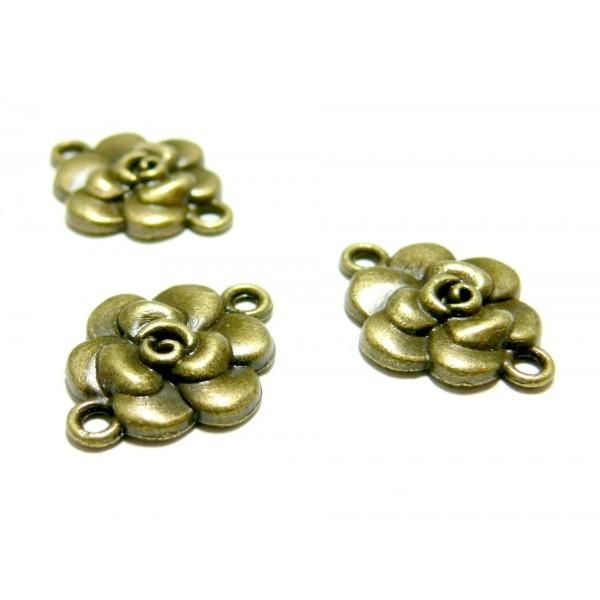Lot de 10 connecteurs fleurs plates métal coloris Bronze 2D3248 - Photo n°1