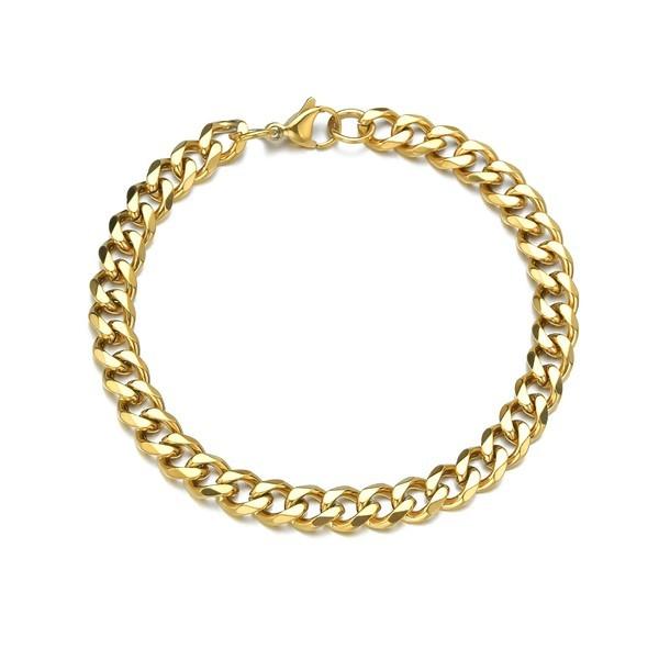 S11655600 PAX 1 Bracelet 22cm maille 1.5 mm en Acier Inoxydable 304 coloris DORE 18KT - Photo n°1